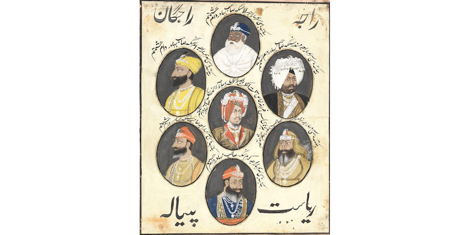 A panel of seven portraits of rulers of Patiala Punjab, perhaps Patiala, late 19th Century (after 1876)