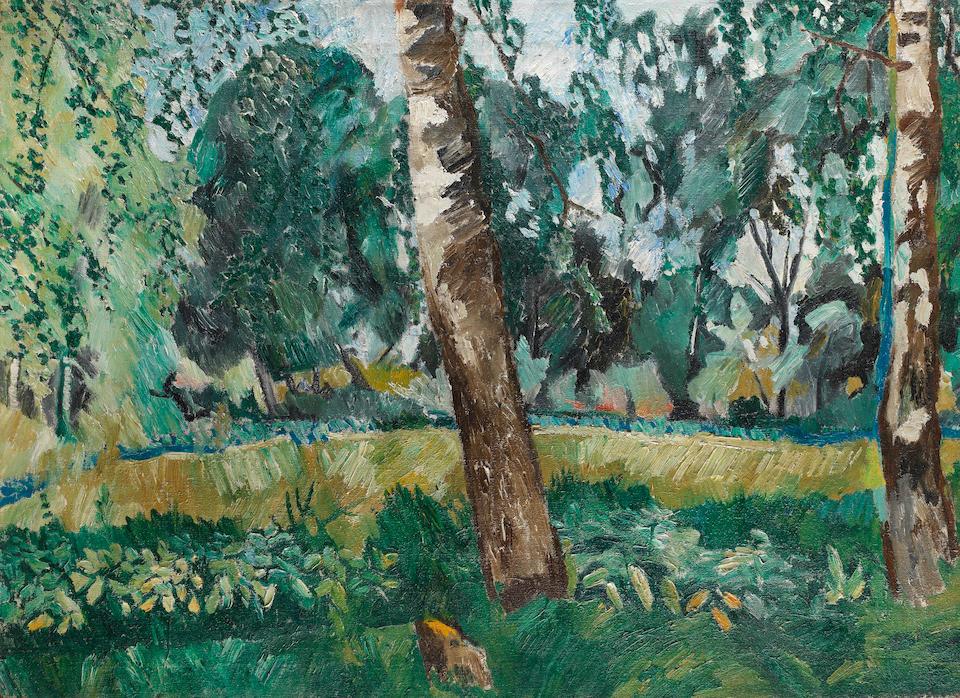 Natalia Goncharova (Russian, 1881-1962) Landscape Birch trees