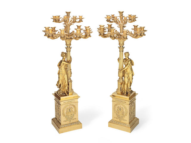 A pair of large French 19th century gilt bronze figurative candelabra After a model by François-Thimotée Matelin (2)