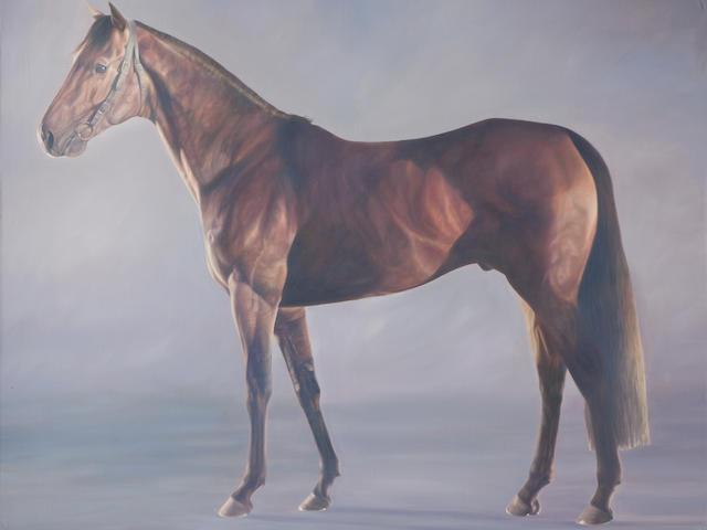 Alan Brassington (British, born 1959) Motivator - Racehorse Side Portrait ((This lot forms part of a diptych with the painting 'Motivator - Front Portrait'))