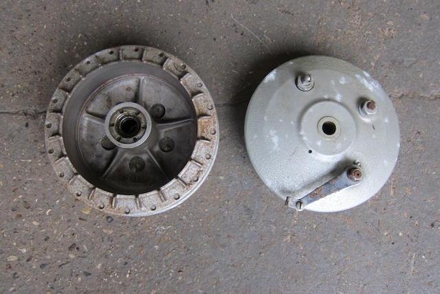 A BSA 190mm hub with brake plate