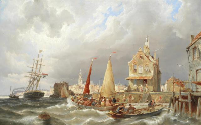 Pieter Christian Dommersen (Dutch, 1865-1913) Busy shipping scene off Amsterdam