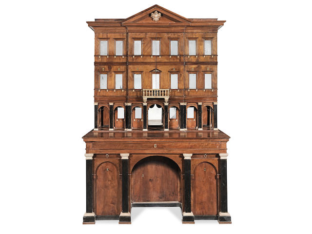 An unusual Tuscan walnut, ebonised and painted architect's cabinet Possibly Lucca