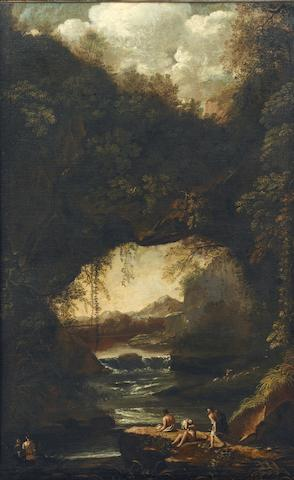 Circle of Salvator Rosa (Arenella 1615-1673 Rome) A rocky river landscape with bathers in the foreground
