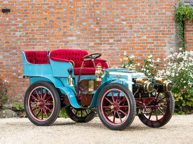 """Le Papillon Bleu"", Ex-Chevalier René de Knyff, and Leslie Bucknall, present ownership for 25 years,1901 Panhard-Levassor 7hp Twin-Cylinder Four-Seater Rear-Entrance Tonneau  Chassis no. 3010"