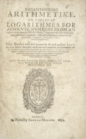 BRIGGS (HENRY) Logarithmicall Arithmetike. Or Tables of Logarithmes for Absolute Numbers from an Unite to 100000; as Also for Sines, Tangentes and Secantes for Every Minute of a Quadrant, George Miller, 1631