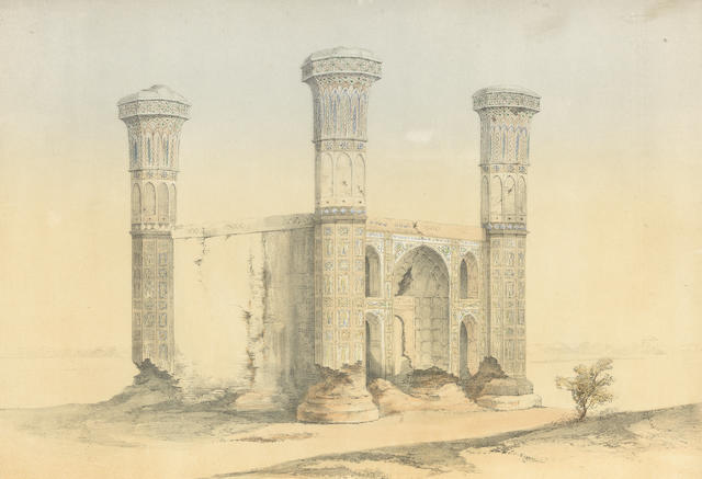 Three lithograph illustrations from Original Sketches in the Punjaub, depicting the Shesh Mahal, Lahore, a ruined gateway on the road to Multan, and a street in Lahore London, Dickinson Bros., 1854(3)