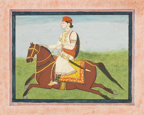 A hill chief on horseback Punjab, circa 1850