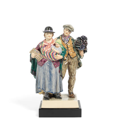 Charles Vyse (British, 1882-1971) 'The Gypsies': A Chelsea Pottery Model, introduced in 1924