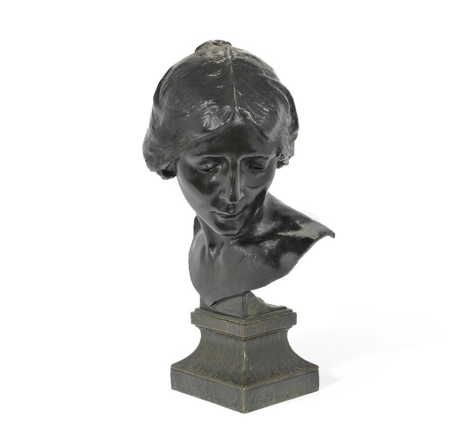 Albert Toft (British, 1862-1949) A Patinated Bronze Bust of a Woman, circa 1900