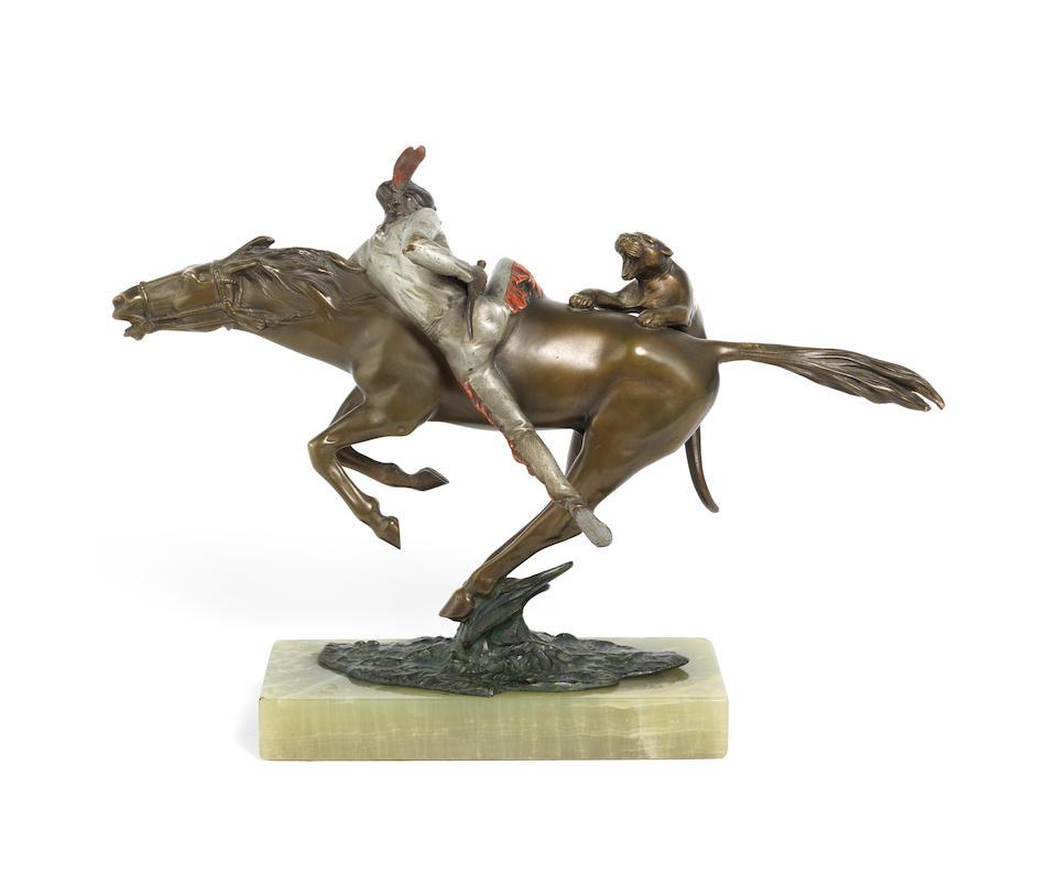 Bruno Zach (Austrian, 1891-1934) A Patinated Bronze Study of a Puma Attacking a Native American on Horseback, circa 1910