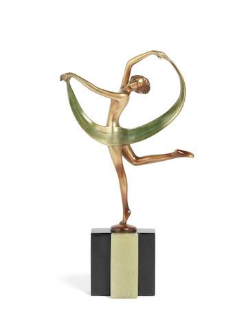 Josef Lorenzl (Austrian, 1892-1950) An Art Deco Gilt-Bronze Model of a Scarf Dancer, circa 1925