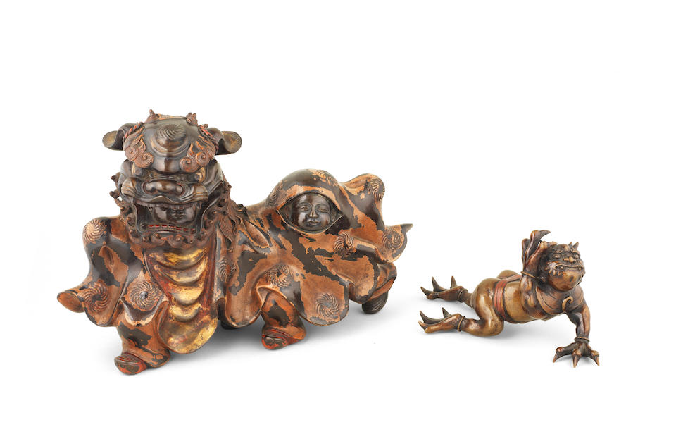 A Lacquered bronze group  Meiji era (1868-1912), late 19th/early 20th century (2)