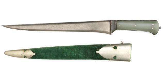 A jade hilted steel dagger (pesh-kabz) North India, 19th Century