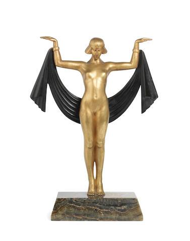 Fanny Rozet (French, born 1859) 'Egyptian Dancer': A Stylish Art Deco Gilded Bronze Model, circa 1925