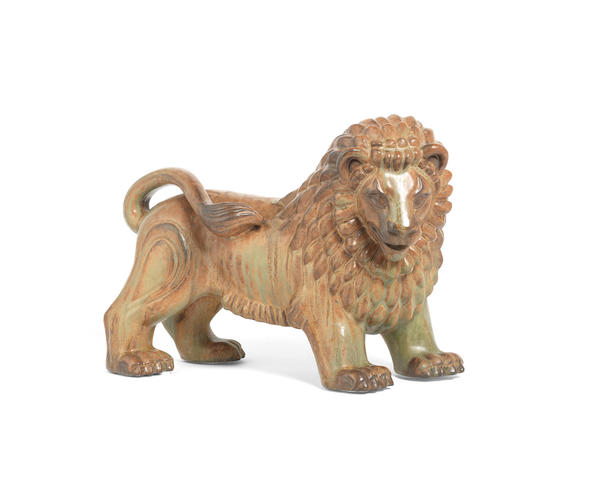 Gunnar Nylund (Danish, 1904-1997) for Rörstrand  A Glazed Ceramic Figure of a Lion, circa 1950