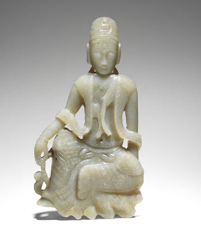 An exceptionally rare pale green jade figure of Mahāsthāmaprāpta Circa 13th/14th century (2)