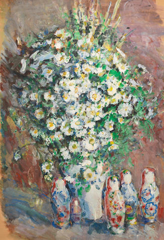 Vasily Ivanovich Grigoriev (1895-1982) Still life with the Russian dolls and flowers