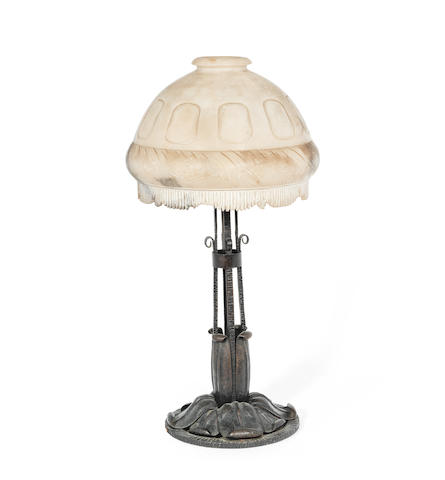 Süe et Mare (Louis Süe, French, 1875-1968/Andre Mare, French, 1887-1932) An Art Deco Wrought Iron and Alabaster Table Light, circa 1925