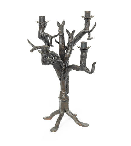 G. Beugnet (French) [Attributed] A Patinated Wrought Iron Candelabra, circa 1940