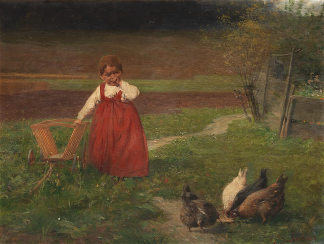 Georgios Jakobides (Greek, 1852-1932) Young girl in the fields 73.5 x 97.5 cm.