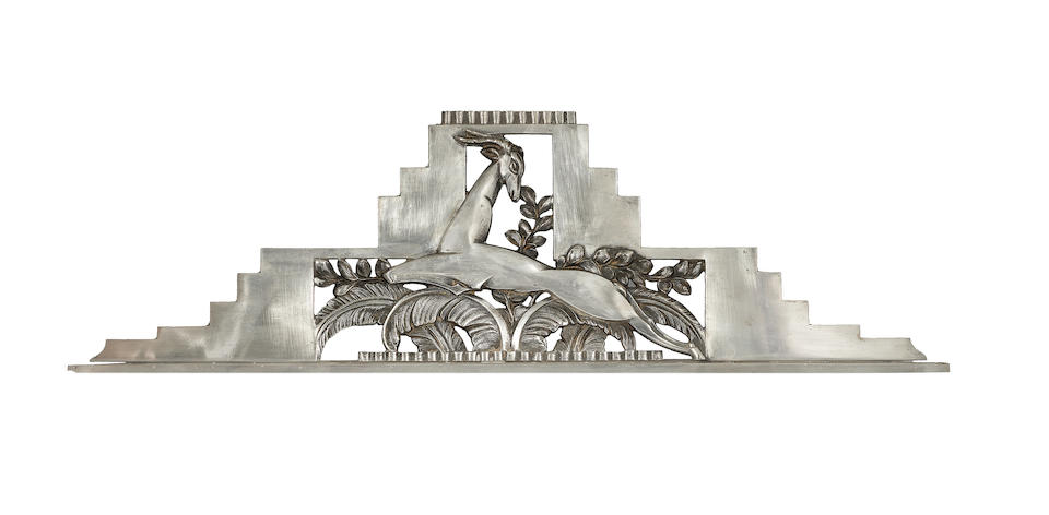 French An Art Deco Nickelled Metal Mantle Mirror, circa 1925