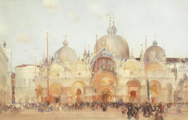 William Russell Flint (British, 1880-1969) 'Piazza San Marco, November Twilight, Venice'
