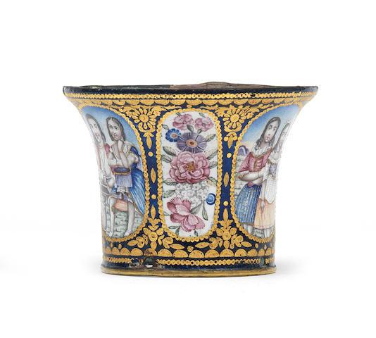 A Qajar enamelled ghalian cup Persia, 19th Century