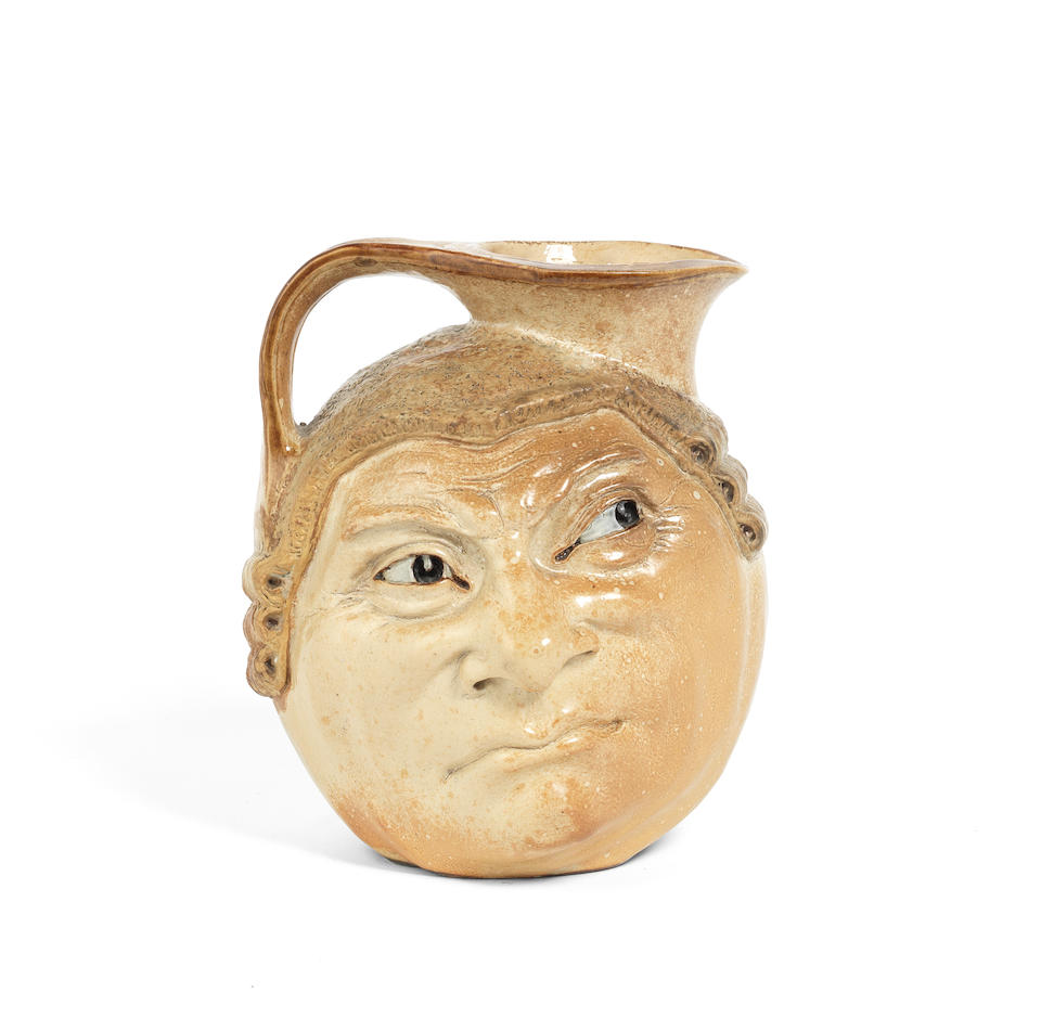 The Martin Brothers a Double-Sided Salt-Glazed Stoneware Barrister Jug, 1910