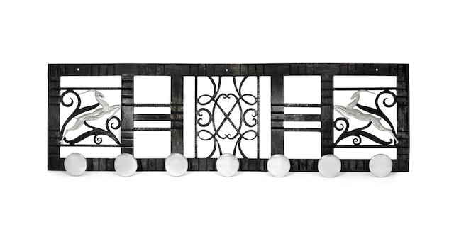 French An Art Deco Wrought Iron and Chromed Metal Coat Rack, circa early 1930s