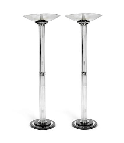 European A Stylish Pair of Large Art Deco-Style Chromed Metal and Glass Torchiere Floor Lamps, late 20th/early 21st century