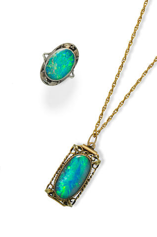 Birmingham School in the Manner of Georgina Gaskin (British, 1866-1934)   An Arts and Crafts Opal pendant & Ring, circa 1900