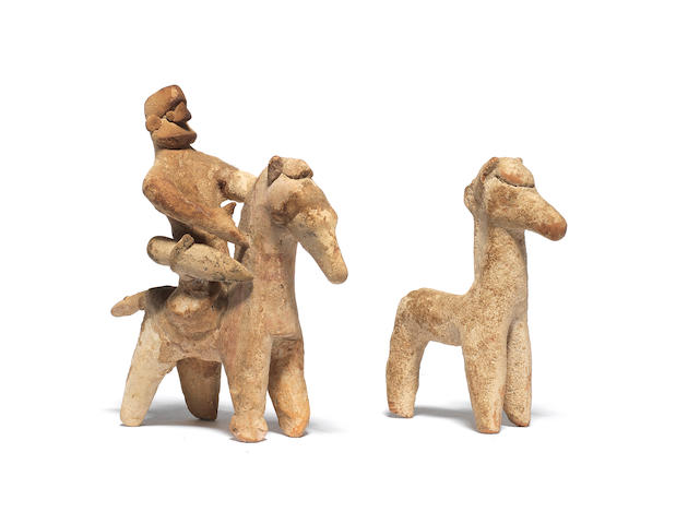 A Cypriot terracotta horse and rider and a Cypriot terracotta horse 2