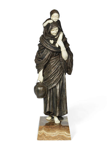 Demetre Chiparus (Romanian, 1886-1947) 'Mother and Child': A Large Art Deco Silvered Bronze and Carved Ivory Figure, circa 1925