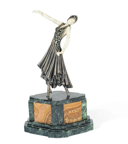 Demetre Chiparus (Romanian, 1886-1947) 'Damascene': An Art Deco Damascened Bronze and Carved Ivory Model of a Female Dancer, circa 1925