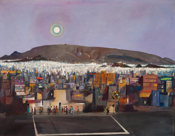 Spyros Vassiliou (Greek, 1902-1985) View of Athens 114 x 146 cm.