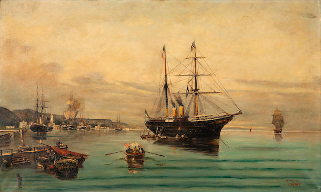 Georgios A. Isaias (Greece, 1873-1957) A busy morning in the harbour (after C. Volanakis) 54.5 x 91 cm.