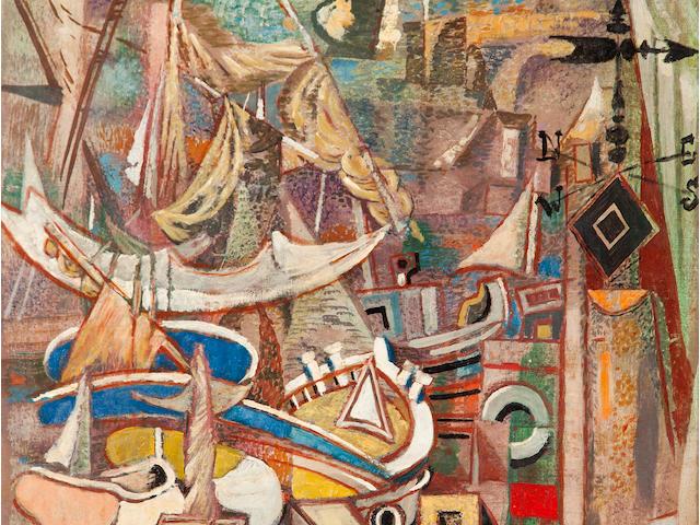 Nikos Hadjikyriakos-Ghika (Greek, 1906-1994) Moorings 65 x 50 cm.