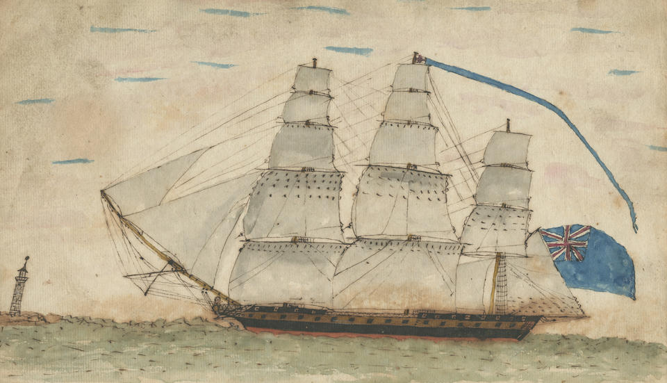 AMERICAN WAR OF 1812 – CHESAPEAKE AND SHANNON Journal with a companion volume of watercolour illustrations, kept by Edward Pritchard, recording his service on board the Shannon in the Arctic and during the War of 1812
