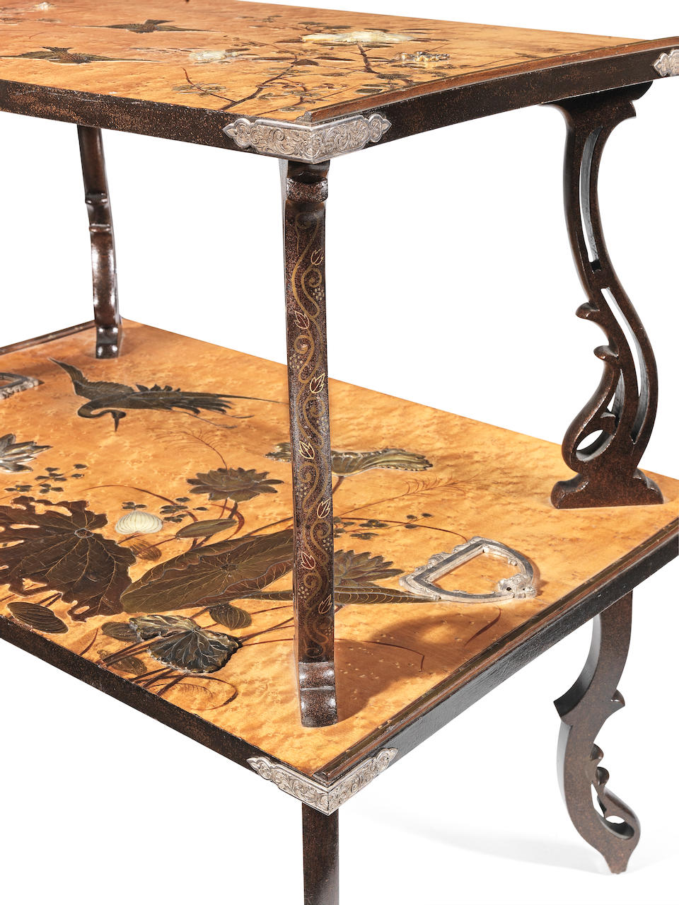 Louis Majorelle (French, 1859-1926) A Burr Maple, Lacquer, Mother-of-Pearl and Silvered Metal Two Tier Tea Table, circa 1895