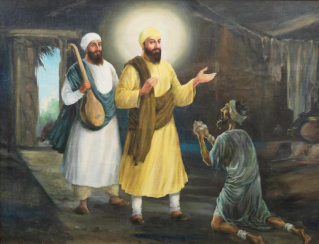 The innkeeper Sajjan Thug repenting of his evil deeds before Guru Nanak and Mardana India, late 20th Century