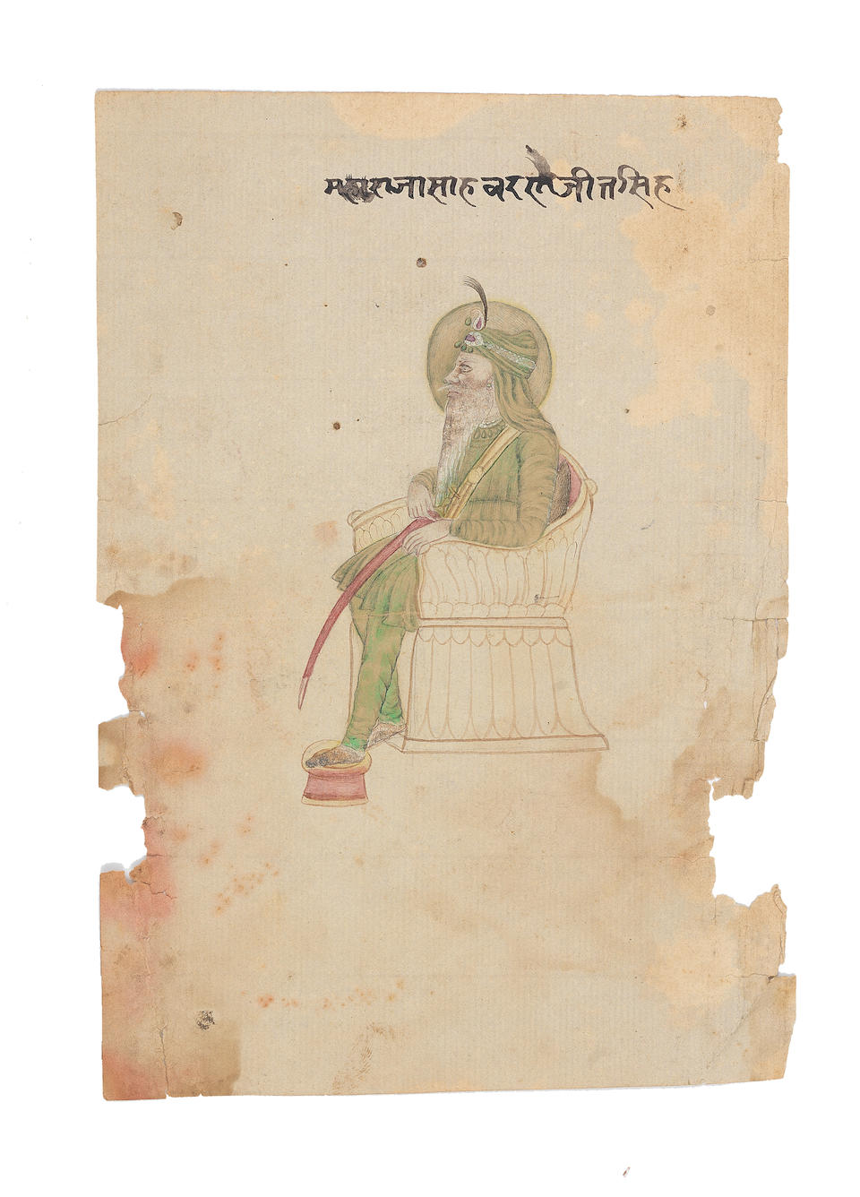 Two portraits of Maharajah Ranjit Singh North India, second half of the 19th Century(2)