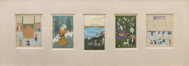 Five paintings in Safavid style Iran, 20th Century