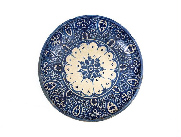 A Fez underglaze-painted pottery dish Morocco, 19th Century
