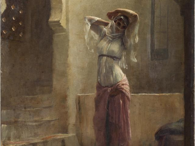 Théodore Jacques Ralli (Greek, 1852-1909) Young girl in the hamam 55.5 x 38 cm.