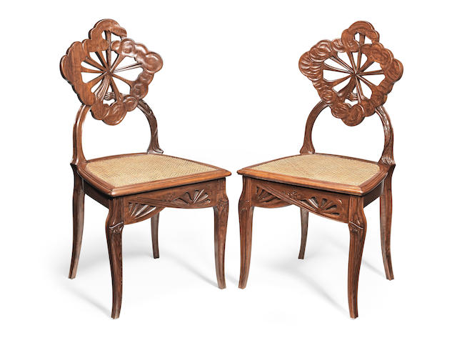 Emile Gallé (French, 1846-1904) A Pair of 'La Berce des Prés' Side Chairs, circa 1902
