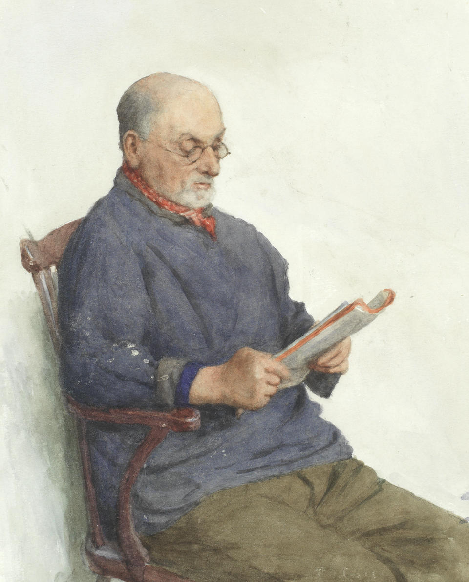 Frederick M. Evans (British, 1859-1929) Tales from the past (together with two other watercolour portraits of fishermen reading, one by the same artist, the other attributed to. )