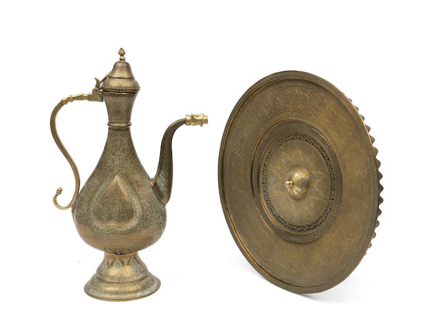 An engraved brass ewer and basin Syria, 19th Century(2)