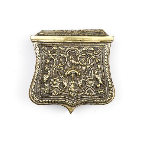 An Ottoman brass powder flask Balkans, early 19th century