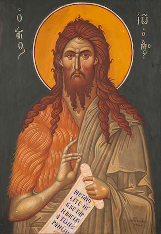 Fotis Kontoglou (Greek, 1895-1965) St John the Baptist 70 x 49 cm.